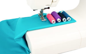 Close-up sewing machine and fabric
