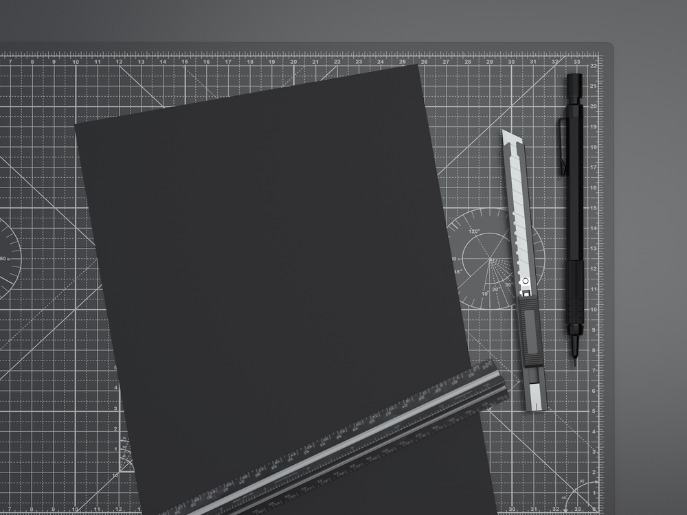Office cutting board with ruler, pencil and paper. 3d rendering